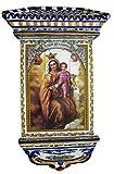 Rustiluz Azulejo de la Virgen del Carmen, Mosaico de cerámica y tejadillo Grande...