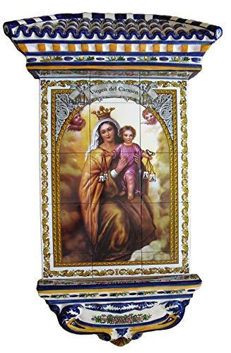 Rustiluz Azulejo de la Virgen del Carmen, Mosaico de cerámica y tejadillo Grande