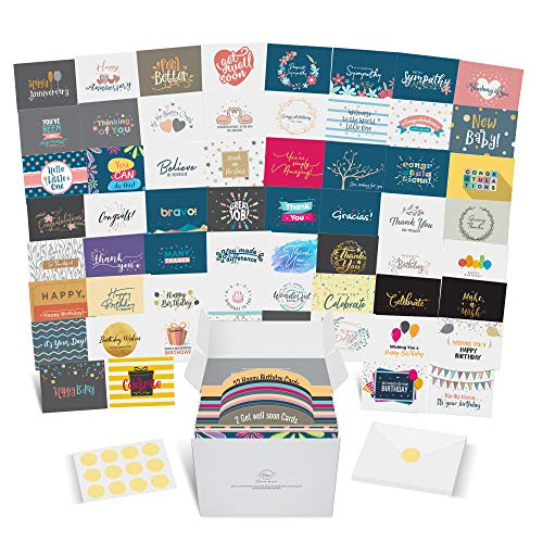 Dessie Greeting Cards Assortment - 60 Large Unique Assorted Cards for All Occasions w/ Greetings Inside and Card Organizer. Birthday, Thank You, Sympathy, Baby, Wedding and More. Envelopes, Gold Seals