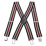 50MM Striped Elastic and Adjustable Men Trouser Braces Suspender X Shape with Metal