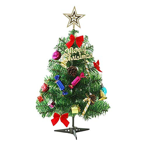 Small Artificial Christmas Tree with Lights, 50cm Table Top Decorative Mini Xmas Tree with LED Lights, Battery operated - Party, Indoor, Home Holiday Decoration, Gift for Boys, Girls & Kids