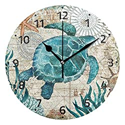 Toprint Sea Ocean Turtle Retro Map Wall Clock Silent Non Ticking Desk Clocks Battery Operated 10 Inch Easy to Read Wall Decorative for Living Room Bedroom Office Kitchen Quartz Analog Quiet Home Decor
