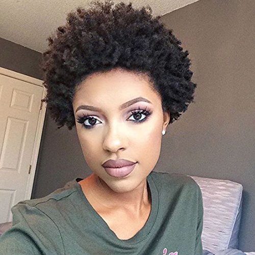 Yviann Synthetic Black African Kinky Curly Afro Wig for Women Fluffy Tight Curly Heat Resistant Wigs