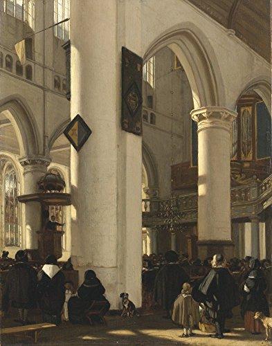 Het Museum Outlet - Interieur van een Protestantse Kerk met gotische motieven van de Oude Kerk in Amsterdam. 1669 - Poster Print Online kopen (60 X 80 Inch)