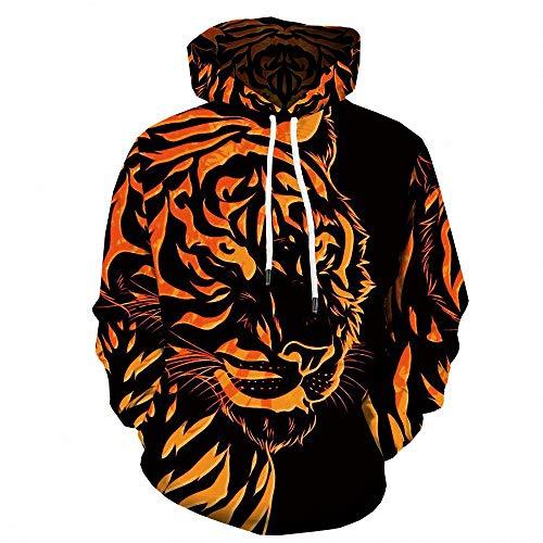 Unisex 3D Animal Print Tiger Hoodie manga larga deporte con capucha