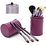 12 Piezas Pincel De Maquillaje Con El Cepillo Compartimiento Conjunto Del Profesional Bases Contorno Cepillo De Cejas Cepillo Del Labio De Color Púrpura