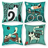 BBKD Set of 4 Cute Cat& Dog Decorative Throw Pillow Covers 18x18 Inch ,Cute Animal Polyester Cushion ,for Living Room Couch and Bed(Cat& Dog,18x18)