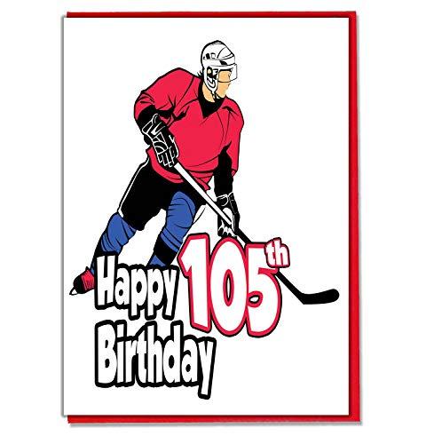 Eishockey-Geburtstagskarte zum 105. Geburtstag, für Herren, Sohn, Enkel, Vater, Bruder, Ehemann, Freund, Freund