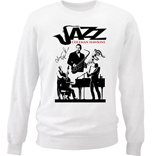teesquare1st Men's Coleman Hawkins - Jazz White Sweatshirt Size Large