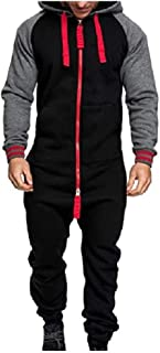 HEFASDM Men With Zips Fall Winter Hoodie With Pockets Sport Tracksuit Jumpsuit