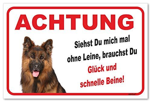 AdriLeo Schild - Vorsicht Langhaarschäferhund - Ohne Leine - (20x30cm) / Achtung Hund Wachhund
