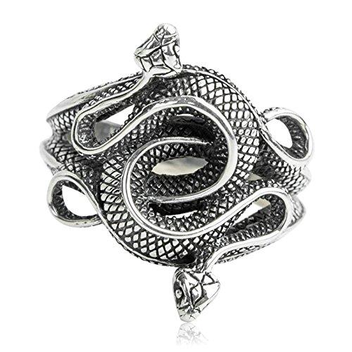 SonMo Anillos Rockeros Anillo de Serpiente Doble Anillo de Plata de Ley 925,Plata del Tamaño 25