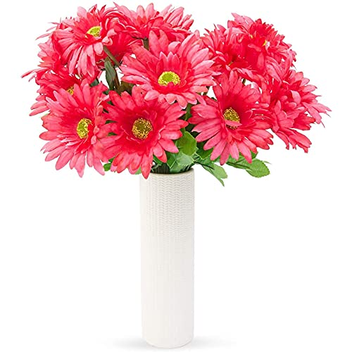 Juvale Artificial Daisies - 21 Daisy Bouquet in Hot Pink - Fake Flowers