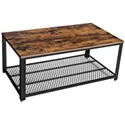 VASAGLE Industrial Coffee Table with Storage Shelf for Living Room, Rustic Brown