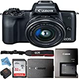 Canon EOS M50 Mirrorless Camera Kit with 15-45mm Lens Retail Packaging Bundle (Sandisk 32GB Card)