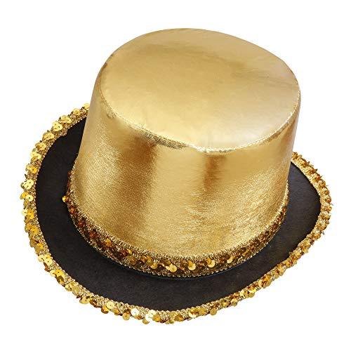 Widmann 2586G - Zylinder Showtime, Hut für Erwachsene, gold-schwarz, glänzend, mit Pailletten, Kopfbedeckung, Kostüm, Fasching, Mottoparty, Karneval