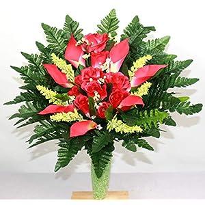 coral roses cemetery arrangement for mausoleum silk flower arrangements