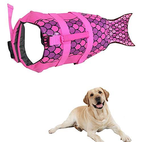 Giubbotto salvagente per cani con squalo, salvagente di sicurezza con alta galleggiabilità e manico per razze piccole e medie dimensioni, viola, L