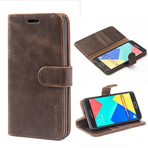 Mulbess Handyhülle für Samsung Galaxy A5 2016 Hülle, Leder Flip Case Schutzhülle für Samsung Galaxy A5 2016 Tasche, Vintage Braun