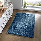 Taracarpet Shaggy Teppich Wohnzimmer Schlafzimmer Kinderzimmer Hochflor Langflor Teppiche modern blau 120x170 cm