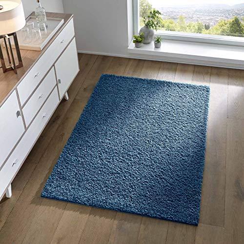 Taracarpet Shaggy Teppich Wohnzimmer Schlafzimmer Kinderzimmer Hochflor Langflor Teppiche modern blau 060x090 cm