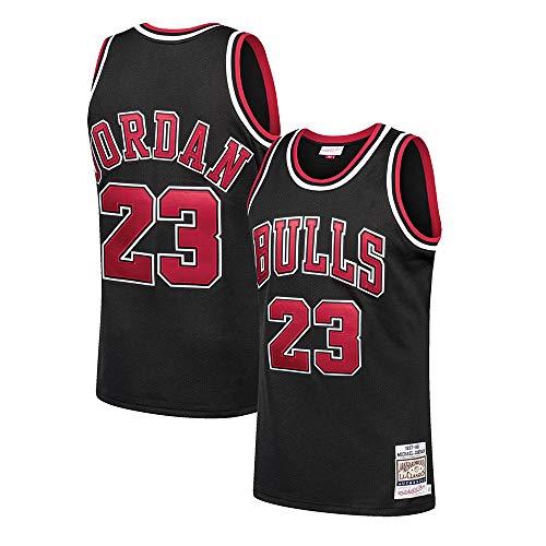 LSJ-ZZ Jersey de Baloncesto NBA Michael Jordan # 23 Bulls Chicago Ropa de Entrenamiento de Malla de Malla Bordada Retro, Unisex sin Mangas Camiseta Chaleco,Negro,S