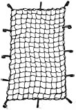 CZC AUTO 56x96.5cm Black Latex Bungee Cargo Net Strech to 112x193cm, Luggage Netting with 5X5cm Small Mesh and 12 Adjustable Plastic Hooks for Rooftop Cargo Carrier Roof Rail Rack Hitch Basket SUV
