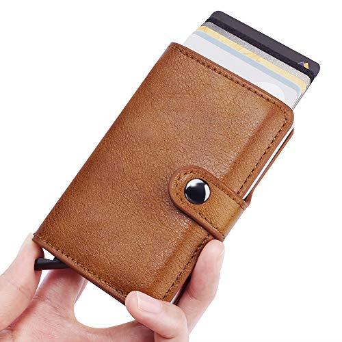 Metal Wallet for Men, Tearcam Secured Wallet Pop Up RFID Blocking Credit Card Holder Vintage Aluminum Business Money Clip