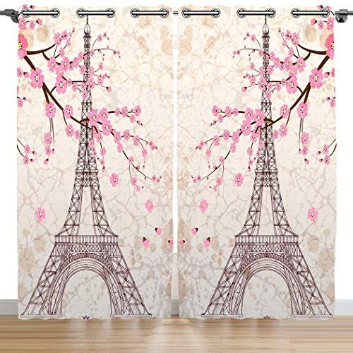 Violetpos 180 x 140 cm Romantique Paris France Tour Eiffel Rose Fleurs de Cerisier Rideaux Occultant Lot de 2 Rideaux Occultant avec Oeillets pour Chambre Salon