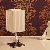 DESIGN DELIGHTS NACHTTISCHLAMPE Petite-PLISSEE | weiß, 27cm, Kunststoffschirm | Beistelllampe, Retro Leuchte, elegant Tischlampe
