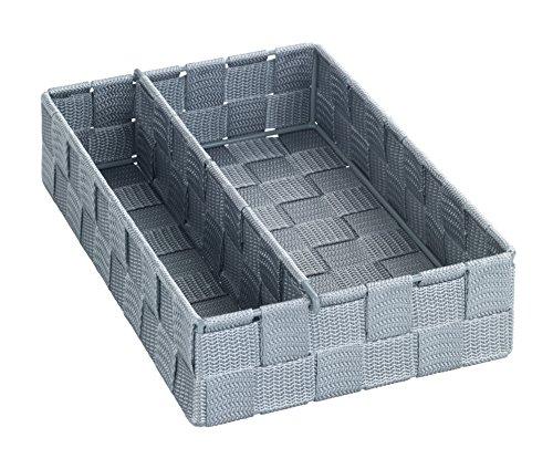 WENKO Küchenorganizer Adria Grau M - mit variabler Trennwand, Polypropylen, 18 x 6 x 26 cm, Grau