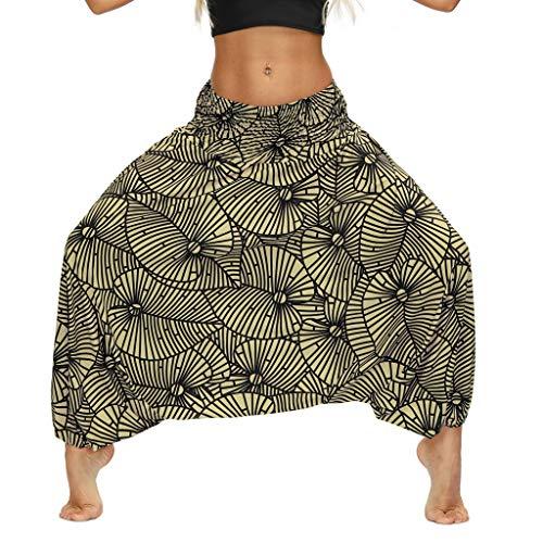 SHOUGONG Pantaloni Harem da Donna Bloomers Pantaloni Aladdin Pantaloni Harem Yoga Pantaloni per Il Tempo Libero Pantaloni Estivi (B)