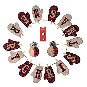 Merry Christmas Banner Christmas Ball Ornaments 2 Pieces Scottish Cloth linen Made Cute Banner Great Firepalce Decoration for Christmas