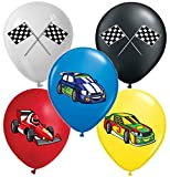 Vision Licensed Race Cars 12' Party Balloons 25 Pcs, Assorted Colors Premium Latex For Race Cars Party Decorations Themed Birthday Cars Party Supplies