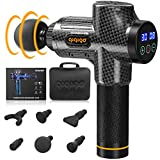 QIQIGO Massage Gun 30 Speed Level Cordless Deep Tissue Percussion Portable Handheld Electric Body Massager Sports Drill with 6 Heads for Relieving Muscle Pain, Soreness, and Stiffness