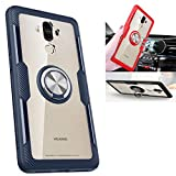 Vomdrok Huawei Mate 9 Case,360° Rotating Ring Kickstand Protective Case,TPU+PC Shock Absorption Double Protection Cover Compatible with [Magnetic Car Mount] for Huawei Mate 9 Case (Navy/silver)