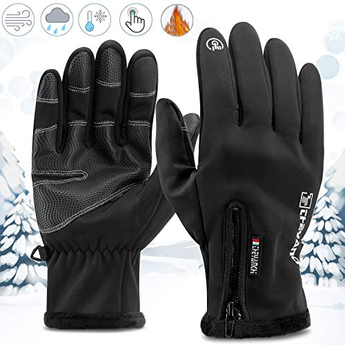 Kasimir Kalte Handschuhe Touchscreen Handschuhe Outdoor Winterhandschuhe Dreifach Wasserfeste Winddicht Anti-Rutsch Verschlussclips Fahren Radfahren Herren Frauen Schwarz M
