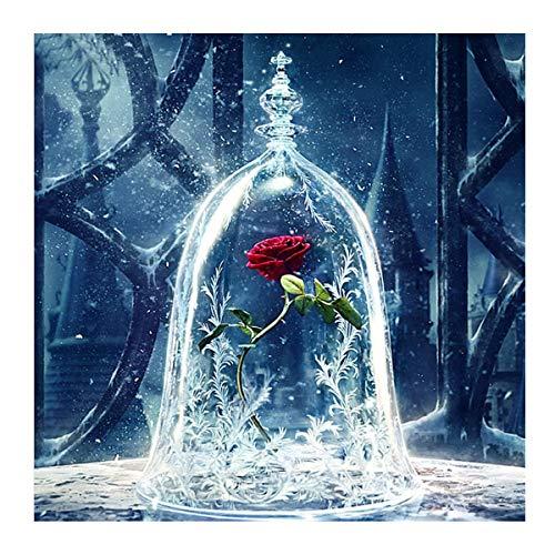 DIY 5D Diamant Painting Rose, malen nach Zahlen kinder /Erwachsener Cystal Strass Stickerei Bilder Kunst Handwerk für Home Wall Decor.Die Schöne und das Biest
