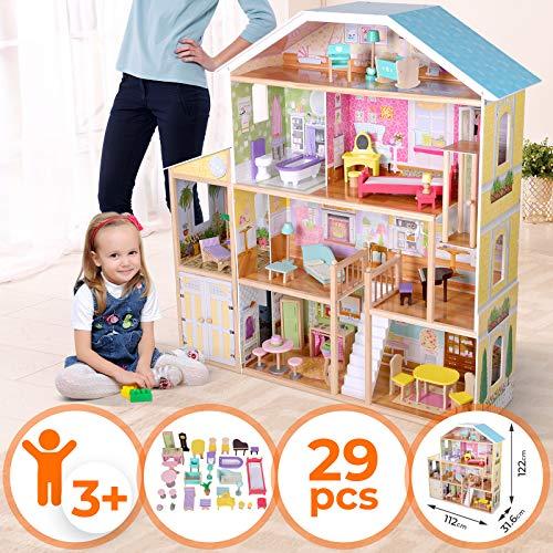 Maison de Poupée en Bois - 112 x 31.6 x 122 cm, 4 Étages, Incluant Meubles et Accessoires (29 Pièces), pour Poupée de 30 cm - Maison de Rêve, Barbie