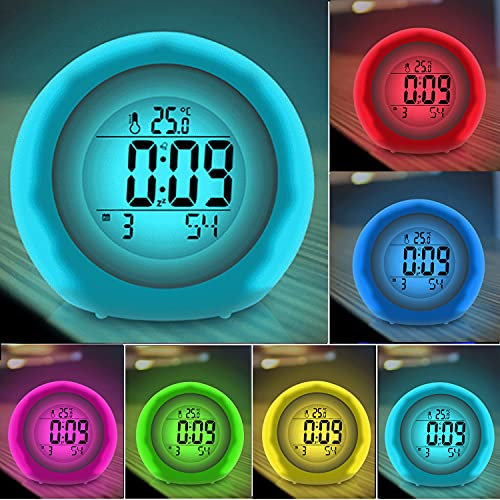 Kids Alarm Clock, Newest Version with Rechargeable Lithium Battery, 7 Color Changing Night Light, Snooze, Touch Control, Temperature for Children Bedroom
