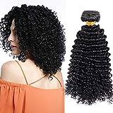 Extensiones de Cortina de Pelo Natural Humano Cabello Virgen Brasileño 100% Remy Hair Extensions Rizado Corto 10'(25cm,100g,#1B Negro Natural)