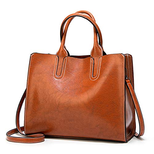 Mdsfe Bolso de Cuero Bolso Femenino Grande Bolso Casual Femenino Bolso de Mano Maleta Bolso de Hombro de Marca Famosa Damas - Marrón-A, a2,32 x 12 x 25cm