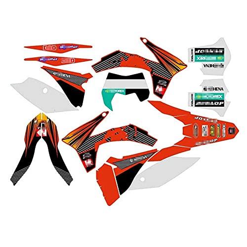 Tatumyin Equipo de Motocicletas Gráficos Calcomanías Pegatinas Kits para K*T*M ECC 125-500 2012 2013 hnszf (Color : As Shown)
