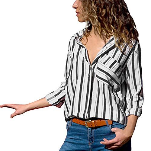 MYMYG Damen Blusen Streifen v Ausschnitt Hemd Oberteile Langarmshirts Blusen Casual Sommer Langarm mit Knopf Tunika (G1-Schwarz,EU:40/CN-M