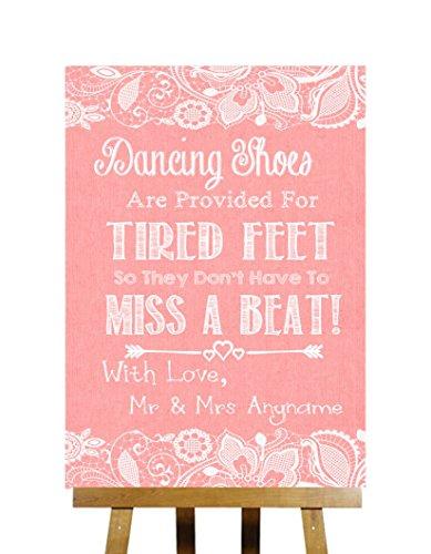 Koraal jute & Kant collectie Flip Flops Sandalen Voor Moe voeten Gedrukt Kaart Bruiloft Teken Medium A4 Koraal