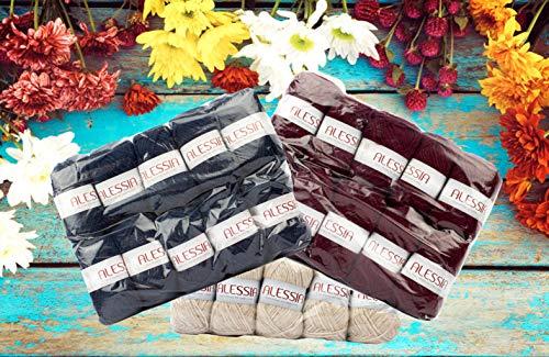 Confezione Misto Lana Offerta in Stock da 10 gomitoli da 50 gr Disponibile in più tipologie Varianti di Colore per Lavoro a Maglia e Uncinetto.Verde Acido 3