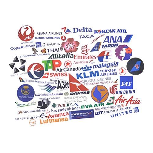 PMSMT 52 Uds Logotipo de aerolínea Pegatinas Viaje de aviación Viaje para Maleta portátil calcomanía Moda DIY Pegatina Impermeable