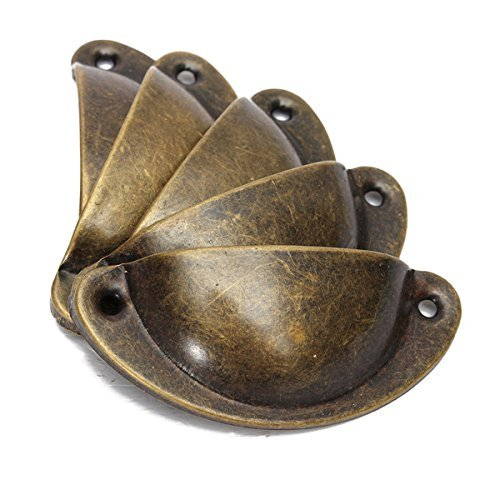 Ximee 10 piezas para armario de cocina, armario, cajón, muebles, tirador 82 x 35 mm, estilo antiguo (Bronze)