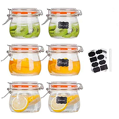 Glass 16-oz Mason Jars with Hinged Lids, Set of 6