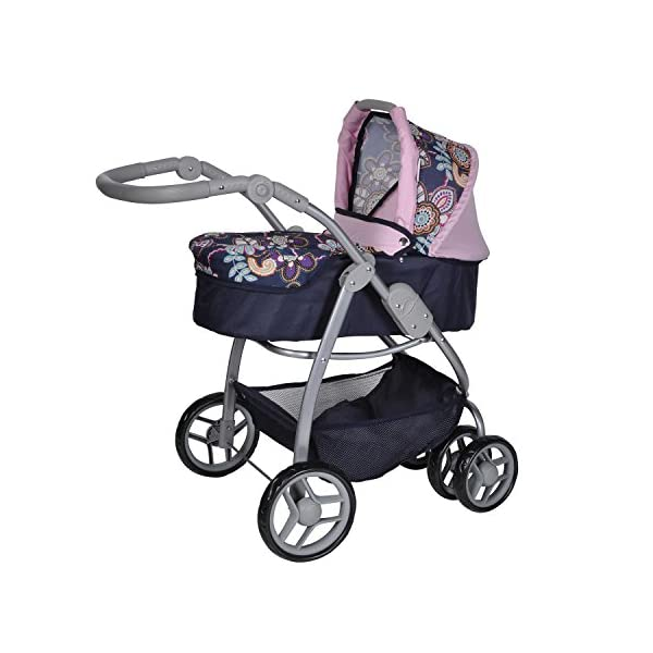 Knorrtoys 90778 Blue Flowers knoortoys Doll Carriage Coco Knorrtoys Height adjustable handle (43-82 cm) Purchases can be stored in the shopping basket Used as a pram with carrycot or sports buggy it always looks great 3